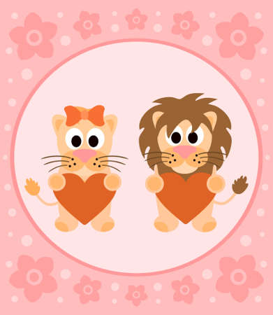 Background cartoon card with funny lions