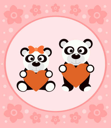 Background cartoon card with funny pandas Vector