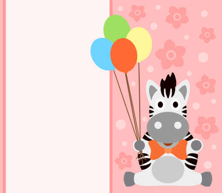 Background card with funny zebra Vector