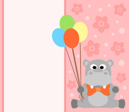 Background card with funny hippopotamus Vector