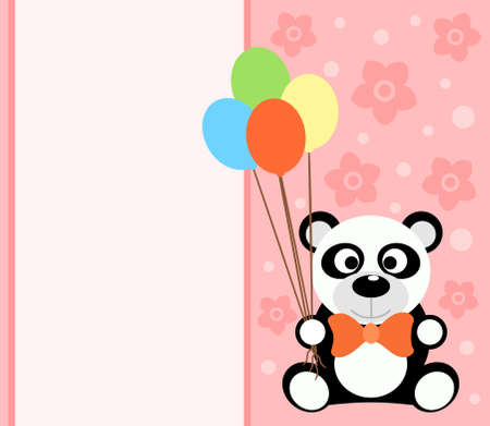 Background card with funny panda Vector