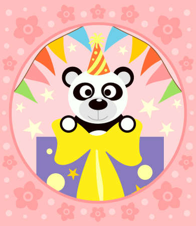 Cartoon  background  with funny panda Vector
