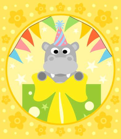 Cartoon  background  with funny hippopotamus
