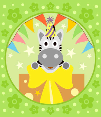 Cartoon  background  with funny zebra Vector