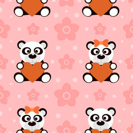 Seamless background with funny pandas Vector