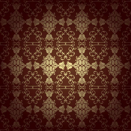Seamless floral baroque background  brown