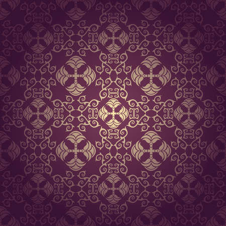 Seamless floral baroque background  purple