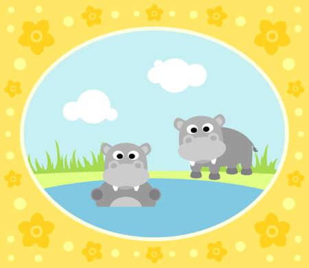 Safari background card with hippopotamus Vector