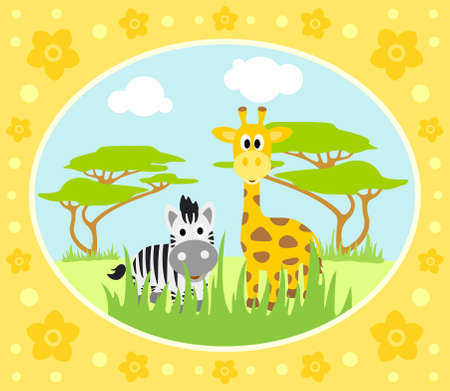 Safari background card with zebra and giraffe Vector