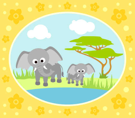 Safari background card with elephants Vector