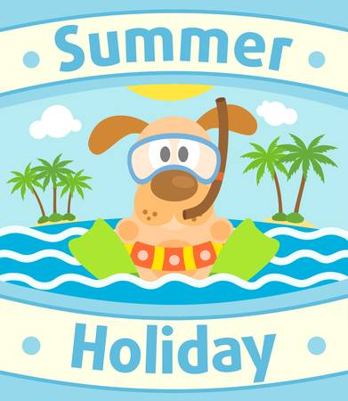 child and dog: Summer sea background card with dog