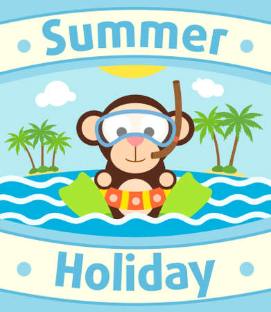Summer sea background card with monkey