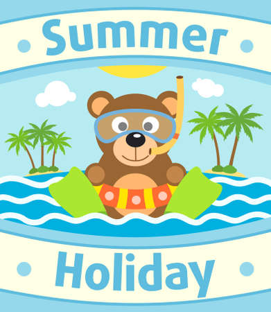 Summer sea background card with bear Vector
