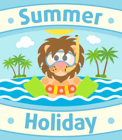 Summer sea background card with lion Vector