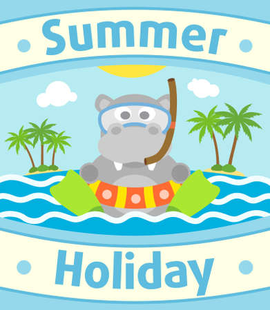 Summer sea background card with hippopotamus Vector