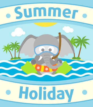 Summer sea background card with elephant