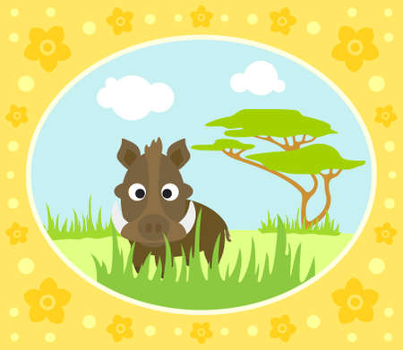 Safari background card with boar