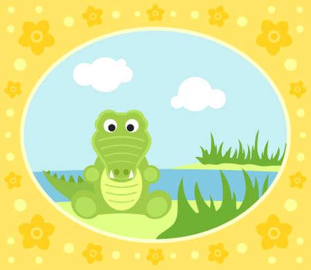 Safari background card with crocodile Vector