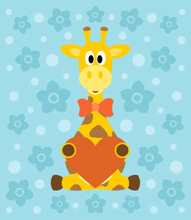 Background with funny giraffe cartoon Vector