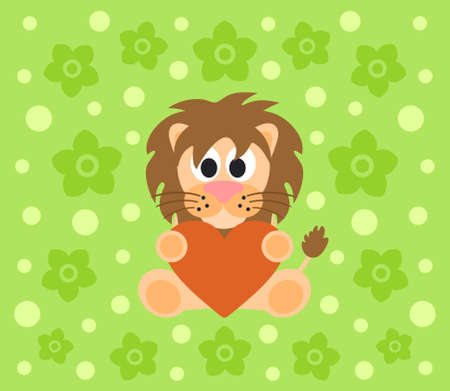 Background with funny lion cartoon Vector