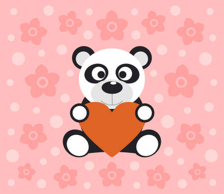 Background with funny panda cartoon Vector