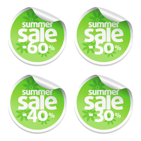Set of green sale stickers Illustration