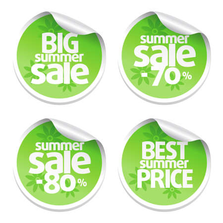Set of sale stickers green Vector