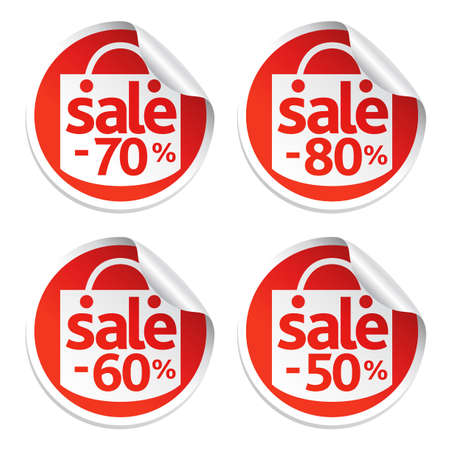 Red set of sale sticker Vector