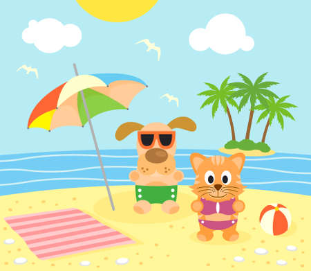 Summer background with funny cat and dog on the beach Vector