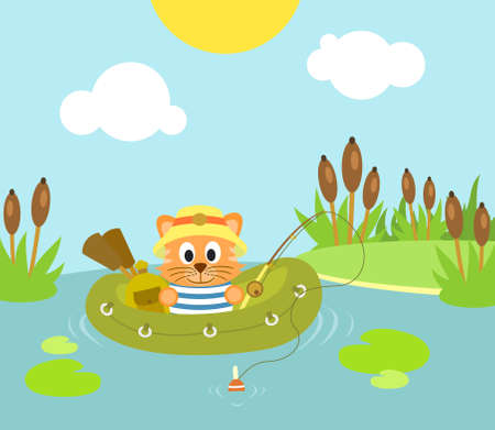 Cat fishing on the lake  background Vector