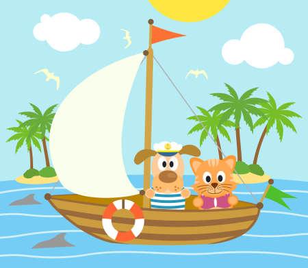 夏の背景に面白い犬、ボートの上の猫