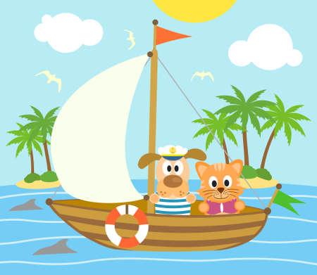 Summer background with funny  dog and cat on boat