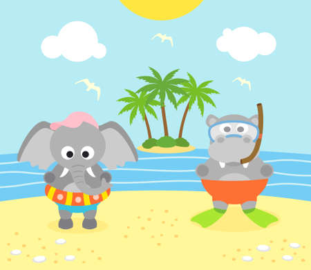 Summer background with funny elephant and hippopotamus on the beach Vector