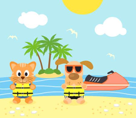 Zomer achtergrond met grappige hond en kat op het strand