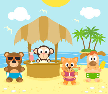 Summer background with funny animals on the beach Vector