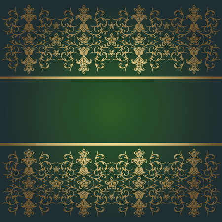 Green background baroque vector with flowers Vector