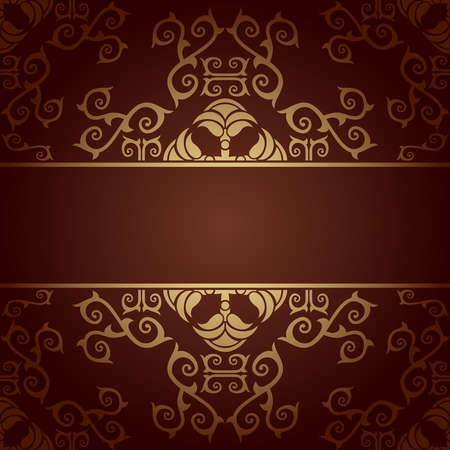 Brown background baroque vector with flowers Illustration