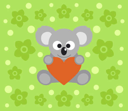 Background with funny koala cartoon Vector