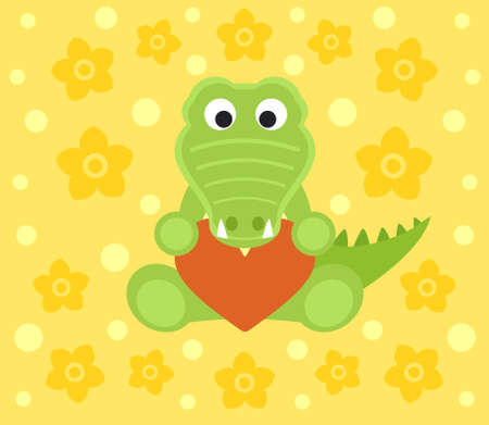 Background with funny crocodile cartoon Vector