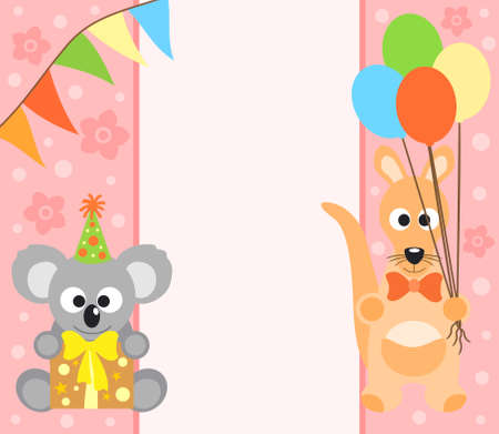 Background  with funny koala and kangaroo Vector