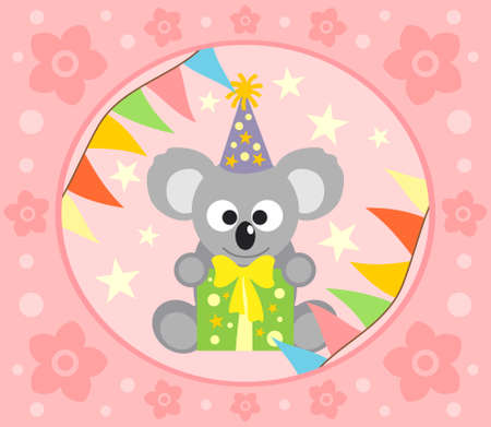 Cartoon  background  with funny koala Vector