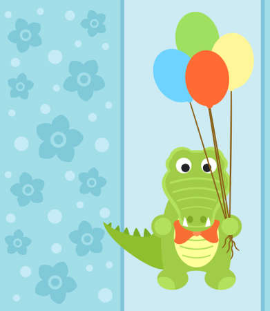 Background card with funny crocodile Vector