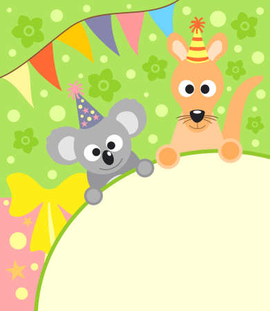 Background card with funny koala and kangaroo Vector