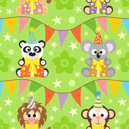 Background seamless with funny  animals Vector