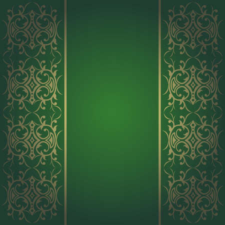 Background green baroque vector with flowers Vector