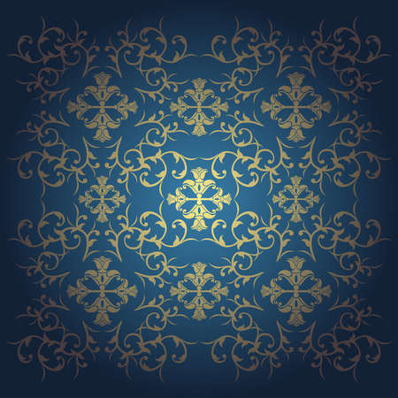 baroque background:  Blue baroque  background vector with flowers