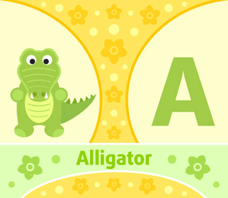 The English alphabet with Alligator Vector