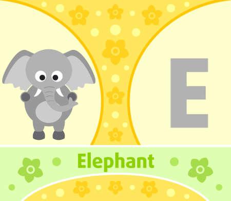 The English alphabet with Elephant Vector