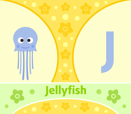letter j: The English alphabet with Jellyfish
