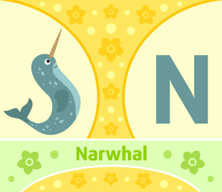 The English alphabet with Narwhal Vector